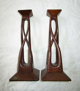 "Two 12"" Wood Candlestick Holders, Art Deco Style, Swirl Stems, Wide Square Base"