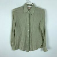 Brooks Brothers Beige Blouse Size XS Irish Linen Button Front Long Sleeve Womens