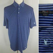 RLX Ralph Lauren Men's XL Navy Blue Striped Short Sleeve Polo Golf Shirt Poly