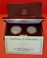 1992 S Us Olympic Mint (2) Coin (Proof Set) Silver (Coin Box & Coa)