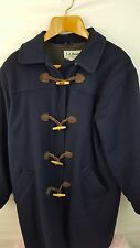 LL Bean Women's Peacoat Wool Long Coat Vintage Navy Leather with Wood buttons 14