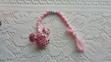 BABY GIRL PINK LARGE SEQUIN MINNIE MOUSE PERSONALISED DUMMY HOLDER CLIP
