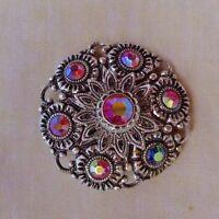 Vintage Brooch Pin round Fashion Jewelry Filigree and rhinestones flower pattern