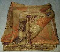 """Placemats Brown Orange Autumn Leaves Maple Trees Fall Fabric 17""""X17""""  Set of 7"""