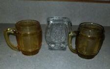 3 Vintage Shot Glasses Amber Glass Green Clear Jim Beam Horse Shoe Barrel Shape