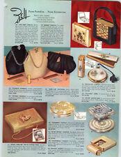 1960 PAPER AD 2 Sided Zell Purse Compact Elizabeth Handbag Desk Set La Boutique