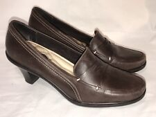 "SOFTWALK 9.5 M Brown Leather Comfort Loafers SHOES 2"" Heels Pumps Career Casual"