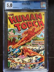 HUMAN TORCH #18 CGC VG/FN 5.0; OW; Schomburg WWII cover! rare!