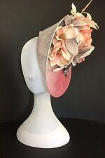 Large fascinator hat headband for weddings and races peach silver pink