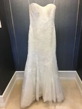 Ivory Strapless Lace Overlay Mermaid Wedding Dress Size 12
