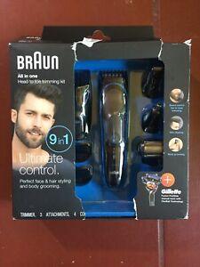 Braun Multi Grooming Kit 9-in-1 Beard, Hair and Body Trimmer MGK3080 wet dry