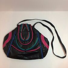 Vintage Black Genuine Leather Purse With Multi-Color Stripes Noble Handbags Inc