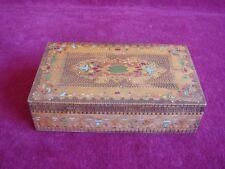 Wonderful Antique Mid 20th C. ~ Arts & Crafts Pyrography Wood Trinket Box #2