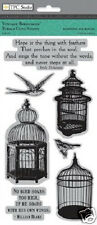 TPC Rubber Cling Stamps VINTAGE BIRDCAGES BIRDS SAYINGS CAGES