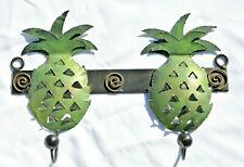 New ListingPineapple Metal Wall Hooks Hangers Coats Towels Hats 2-Hooks Euc