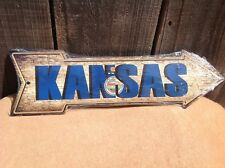 """Kansas State Flag This Way To Arrow Sign Directional Novelty Metal 17"""" x 5"""""""