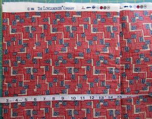 """4 7/8  yd x 54"""" New Longaberger """"Inaugural"""" American Flags Rare Retired Cotton"""