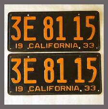 1933 California License Plates Pair DMV Clear YOM Original Old Vintage