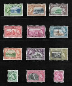 1953-1959 SET TRINIDAD AND TOBAGO POSTAGE STAMPS - SG 267-278 MLH COMMONWEALTH.