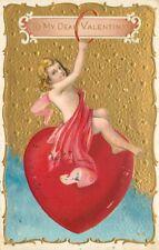 Artist impression 1911 Valentine greetings heart postcard 6817