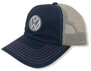 Volkswagen VW Men's Embroidered Logo Retro Trucker Licensed Hat Cap - Navy/Cream