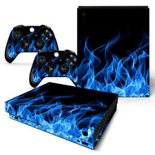 For Xbox One X Skin Blue Flame Console & 2 Controllers Decal Vinyl Wrap