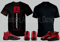 New Custom Tee T-Shirt to Match Air Jordan Retro 12 Reverse Flu Game