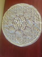Beautiful Vintage Antique Handmade Filet Lace Round Doily Ecru