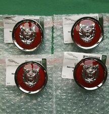 JAGUAR RED SILVER ALLOY WHEEL CENTER CAP BADGES BADGE NEW GENUINE SET OF 4