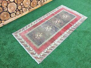 3'2''x6'3'' Vintage Turkish Rug,Oushak Short Runner Rug,Antique Ushak Carpet