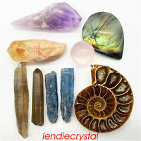 9pcs Mixed natural quartz crystal mineral rough stone point reiki healing 50g+