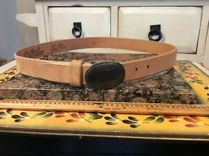 VINTAGE EDDIE BAUER TAN LEATHER BELT, WITH METAL BUCKLE, SZ XL, Made in USA