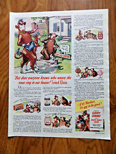 1946 Borden's Milk Ad  Elmer & Elsie  Everyone Knows who Wears the Nose Ring