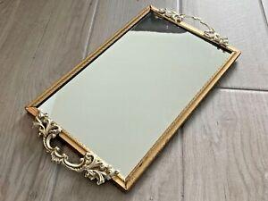 Vintage gold mirror vanity tray 13 x 7.5