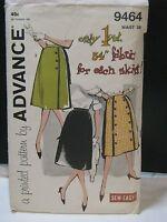 "Vintage 1950's/60's Advance Sewing Pattern #9464 Skirt Waist 28"""