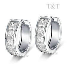 T&T 18K White Gold GF Princess Cut HUGGIE Hoop Earrings (EH30)