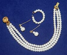"""Three Strand Pearl Jewelry Set for 22"""" Miss Revlon Vintage Fashion Doll GFposts"""