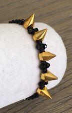 New Auth Chan Luu Spike Pull Tie Bracelet Black & Gold