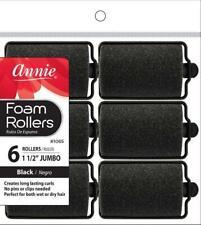 """Annie Jumbo Foam Rollers - 1 1/2"""" Diameter - 6-Pack - #1065 - *BLACK*"""