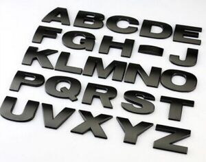 MATTE BLACK SOLID METAL Letter number ,GREAT QUALITY 3D Self-adhesive  HOME AUTO