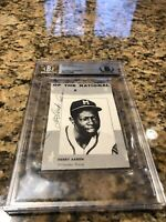 Hank Henry Aaron Autographed Early Signature Index Card Beckett Slabbed HOF 755
