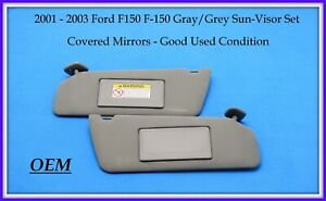 2001-2003 Ford F-150 F150 Gray/Grey Sun-Visor Set Covered Mirrors OEM