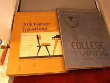 """PAIR OF OLD VTG TYPEWRITING BOOKS, 1938 """"COLLEGE TYPING"""", 1962 """"20th CENTURY"""""""