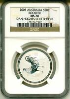 2005 S50c Australia Lunar Year Of The Rooster 1/2 Oz. .999 Silver NGC MS70