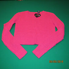 Boy Meets Girl Juniors Sparkle Pink Cropped Knit Sweater NEW NWT S Small