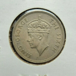 Malaya 20 cents, 1950 copper-nickel coin, KM# 9, George VI facing left, XF