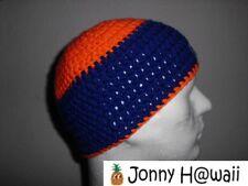 JONNY HAWAII élégant Bonnet crochet fait à la main taille unique orange/bleu