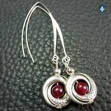 ✨ GROUPED SHIPPING DISCOUNTS  Long Strawberry Red Jade & Silver Plated Earrings