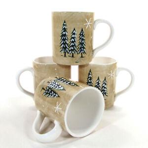 Target Home NORTHWOODS - PINE TREE 12oz Mug Set 4Pc Christmas Snowflakes Mint
