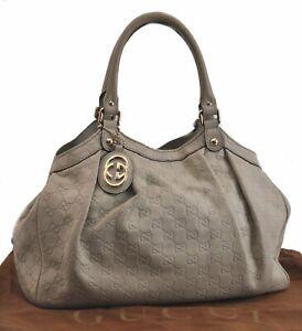 Authentic GUCCI Guccissima Sukey Leather Hand Bag White B8518